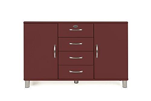 Tenzo Malibu Sideboard 2 Türen, 4 Schubladen, MDF und Spanplatte, Lackiert, Marsala, One Size