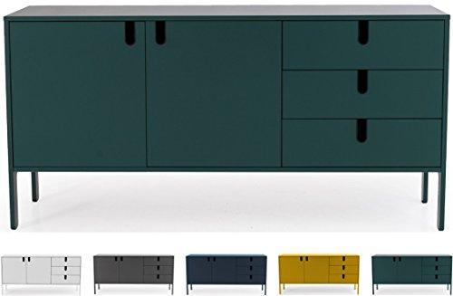 Tenzo UNO 8555-031 Designer Sideboard 2 Türen, 3 Schubladen Lackiert, MDF + Spanplatten, matt Soft-Close Funktion, Forest Grün, 86 x 171 x 46 cm (HxBxT)