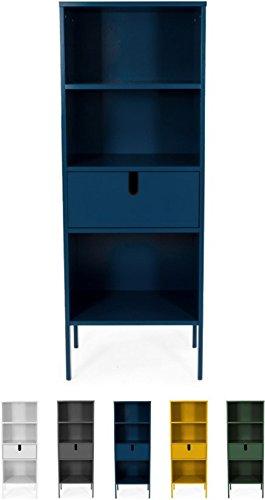 Tenzo UNO 8562-023 Designer Regal, 1 Schublade Lackiert, MDF + Spanplatten, matt Soft-Close Funktion, Petrol Blau, 152 x 56 x 37 cm (HxBxT)