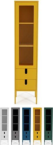 Tenzo UNO 8566-029 Designer Vitrine 1 Tür, 2 Schubladen Lackiert, MDF + Spanplatten, matt Soft-Close Funktion, Senf, 178 x 40 x 40 cm (HxBxT)