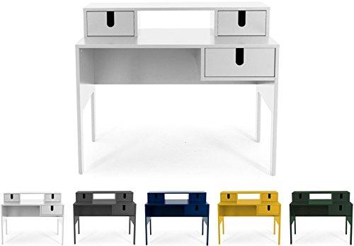 Tenzo UNO 8573-001 Designer Sekretär 3 Schubladen Lackiert, MDF + Spanplatten, matt Soft-Close Funktion, Weiss, 92 x 105 x 50 cm (HxBxT)