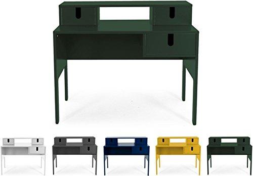 Tenzo UNO 8573-031 Designer Sekretär 3 Schubladen Lackiert, MDF + Spanplatten, matt Soft-Close Funktion, Forest Grün, 92 x 105 x 50 cm (HxBxT)