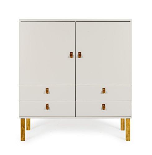 Tenzo VOX Schrank 2 Türen, 4 Schubladen, MDF und Spanplatte, Lackiert, Warm Grey/Eiche, One Size