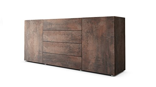Vladon Sideboard Kommode Massa 166 in Stahlfarbe Antik