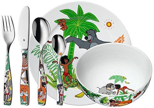 WMF Disney Dschungelbuch Kindergeschirr, mit Kinderbesteck 6-teilig, ab 3 Jahren, Cromargan Edelstahl poliert, spülmaschinengeeignet, farb- und lebensmittelecht