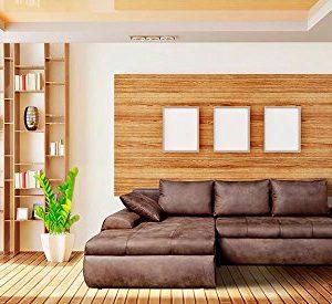 lifestyle4living Wohnlandschaft, in Mikrofaser Vintage-Look braun, mit 3 Rückenkissen,1 Seitenkissen, Schlaffunktion/Bettkasten Schenkelmaß: 260 x 184 cm
