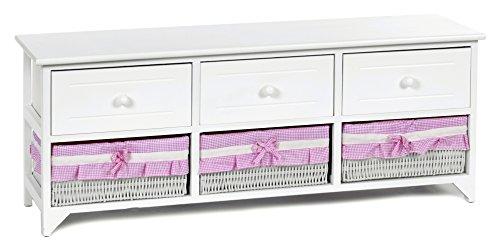 ts-ideen Landhaus Kommode Schrank weiß Sideboard mit 3 Schubladen und 3 Körben Bezug in Pink NEU