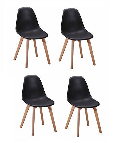 4Stühle Skandinavisches Design–ergonomisch geformte Sitzfläche–Füße aus Buchenholz–Collection dawy