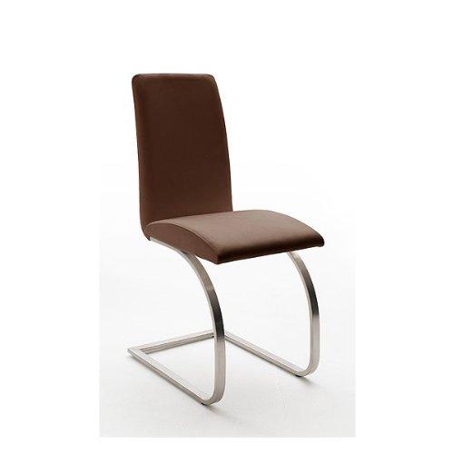 2x Schwingstuhl ECHT LEDER braun Freischwinger Esszimmerstuhl Polsterstuhl