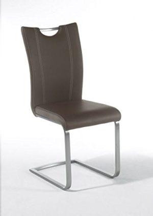 4 Stühle, Schwinger, Schwingstuhl, Schwinger, PAVO, Freischwinger + Griff, Braun, Cappuccino, Grau, Schwarz, Weiß