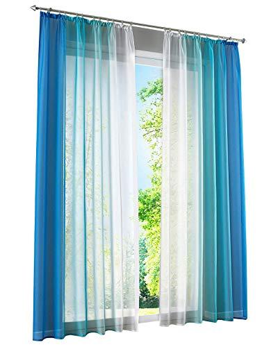 BAILEY JO 2er-Pack Gardinen mit Verlauf-Farben Muster Vorhang Transparent Voile Vorhänge