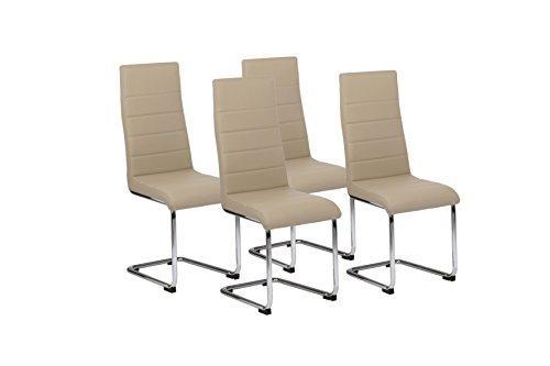 CAVADORE 86406 Schwingstuhl 4-er Set Gaby/Freischwinger ohne Armlehne in modernem Design/Lederimitat/Stuhlset Cappuccino/56 x 44 x 105 cm (T x B x H)