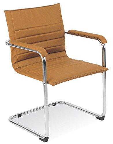 Dreams4Home Freischwinger Main Besucherstuhl Wartezimmerstuhl Konferenzstuhl Stuhl mit Armlehnen leder, braun