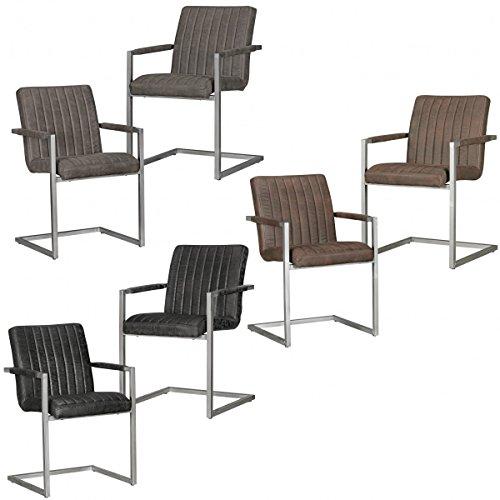 FineBuy 2er Set Esszimmerstuhl MALTE Retro Design Stoff / Metall | Vintage Küchenstuhl 55 x 86 x 50 cm mit Armlehnen | Freischwinger Wildlederoptik Meetingstuhl