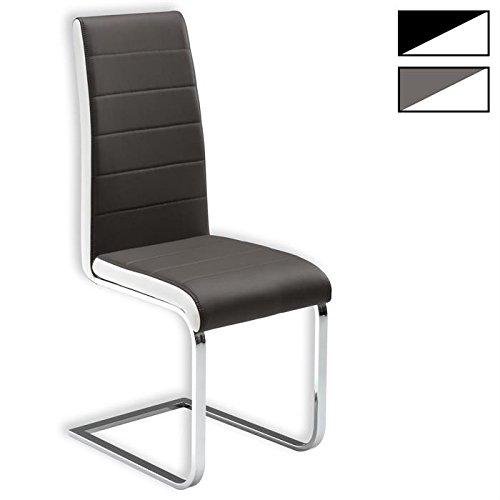 Freischwinger Esszimmerstuhl Küchenstuhl Stuhlgruppe EVELYN, 4er Pack, Lederimitat Farbauswahl