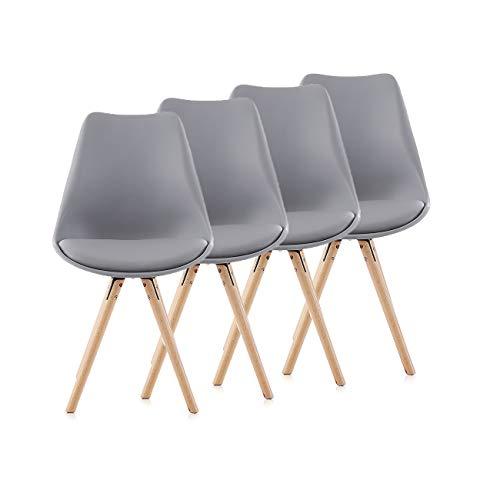 Makika Retro Stuhl Design Stuhl Esszimmerstühle Bürostuhl Wohnzimmerstühle Lounge Küchenstuhl Sitzgruppe 4er Set aus Kunststoff mit Rückenlehne MOOL in Verschiedene Farben