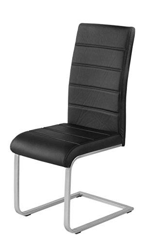 SAM® 6er Spar-Set Freischwinger in schwarz, Stuhl mit Kunstlederbezug, hoher Komfort, geschwungenes Design, Schwingstuhl mit Edelstahl-Fuß, Strapazierfähig und pflegeleicht [521285]