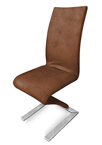 SAM® Freischwinger Stuhl SAM - 2175 in Wildleder Optik Fuß Edelstahl modernes geschwungenes Design Textil Bezug braun