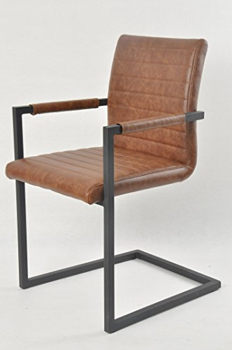 SalesFever Stilvoller Armlehnstuhl Alessia in hellbraun, Stuhl in elegantem Design, Esszimmerstuhl mit Kunstleder bezogen, schwarz lackiertem Fuß, 2er Set