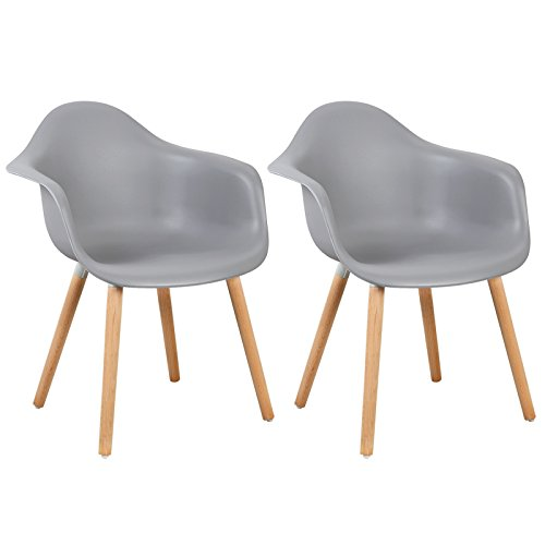 WOLTU® #980 Esszimmerstühle 2er Set Esszimmerstuhl mit Lehne Design Stuhl Küchenstuhl Holz Kunststoff