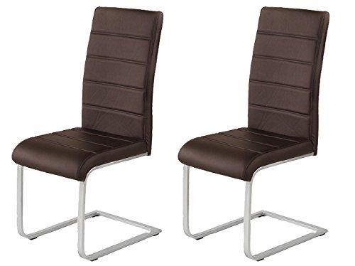 agionda 2 x Freischwinger JAN PIET braun mit hochwertigem PU Kunstleder 120 kg belastbar einteiliges Gestell Stuhl Polsterstuhl Esszimmerstuhl Set