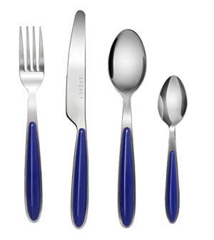EXZACT EX07-16 teiliges Besteckset/Edelstahl-Besteck - Rostfreier Stahl mit farbigen Griffen - 4 Gabeln, 4 Messer, 4 Esslöffel, 4 Teelöffel