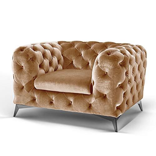 Moebella Designer Chesterfield Sofas Couch Samt-Stoff Sessel Möbel Big-Emma Knopfheftung