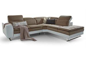 Moebella Designer Ecksofa Prato Weiß Taupe Wohnlandschaft XXL Couch Sofa Kopfstützen verstellbar Steppungen