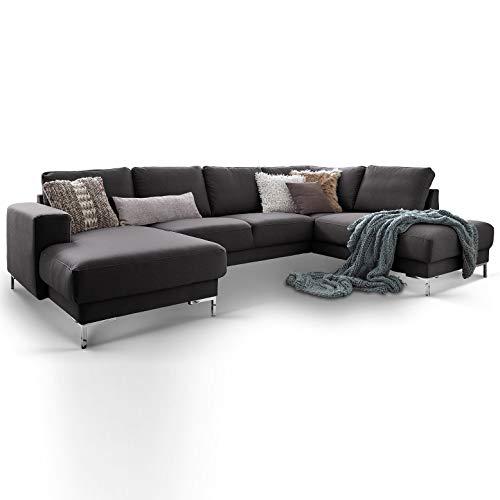 Moebella Designer Wohnlandschaft Baltimore XXL U-Form Ecksofa Stoff grau anthrazit Sofa Couch mit Ottomane