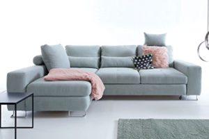 Moebella Ecksofa mit Schlaffunktion und Bettkasten Gina Sitztiefenverstellung Designer Schlafcouch Sofa Bettfunktion