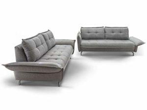 Moebella Sofa-Set 3-Sitzer 2,5-Sitzer Stoff grau mit Armlehnenverstellung Nanini Couchgarnitur Chromefüße Steppungen
