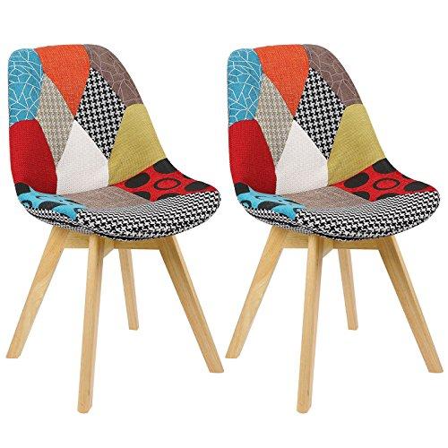 WOLTU #1096 2 x Esszimmerstühle 2er Set Esszimmerstuhl Design Stuhl Küchenstuhl Holz