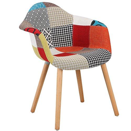 WOLTU #1100 Esszimmerstuhl 1 Stück Esszimmerstuhl mit Lehne Design Stuhl Küchenstuhl Holz Leinen