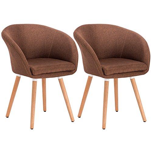 WOLTU® 2er Set Esszimmerstühle Essgruppe Küchenstühle Wohnzimmerstühle Design Stuhl Retro Stuhl Polsterstuhl mit Arm- und Rückenlehne Stuhlgruppe, Sitzfläche aus Leinen, Holz #808