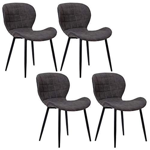 WOLTU 4 x Esszimmerstühle 4er Set Esszimmerstuhl Küchenstuhl Polsterstuhl Design Stuhl mit Rückenlehne, mit Sitzfläche aus Stoffbezug, Gestell aus Metall, Antiklederoptik, BH98-4