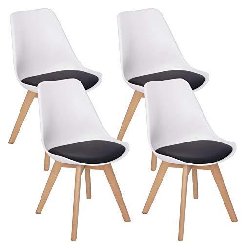 WOLTU 4er Set Esszimmerstühle Küchenstuhl Design Stuhl Esszimmerstuhl Kunstleder Holz 2 farbig Weiß + Schwarz BH97wsz-4