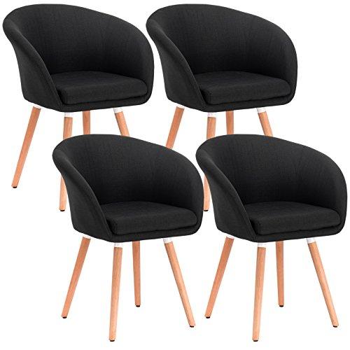 WOLTU® 4er Set Esszimmerstühle Stuhlgruppe Küchenstühle Wohnzimmerstühle Polsterstühle Design Stuhl mit Armlehne und Rückenlehne, mit Holzbeinen, Sitzfläche aus Stoffbezug(Leinen), Schwarz, BH74sz-4