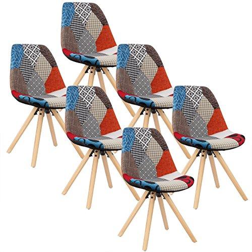 WOLTU® 6 x Esszimmerstühle 6er Set Esszimmerstuhl mit Sitzfläche aus Leinen Design Stuhl Küchenstuhl Holz, Patchwork, Mehrfarbig BH52mf-6