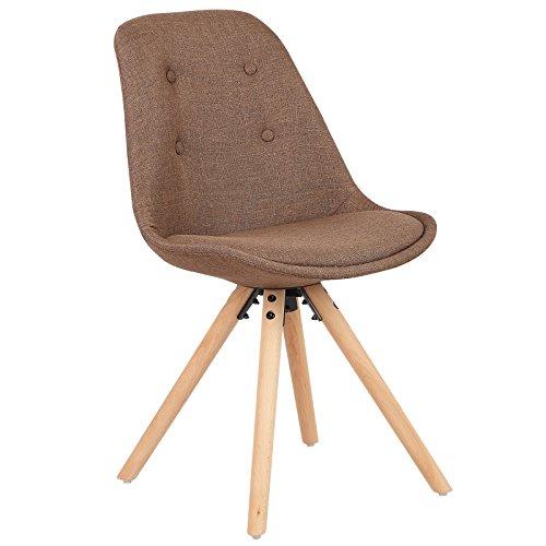 WOLTU® #729 1 Stück Esszimmerstuhl, Sitzfläche aus Leinen, Design Stuhl, Küchenstuhl, Holzgestell, Cremeweiß