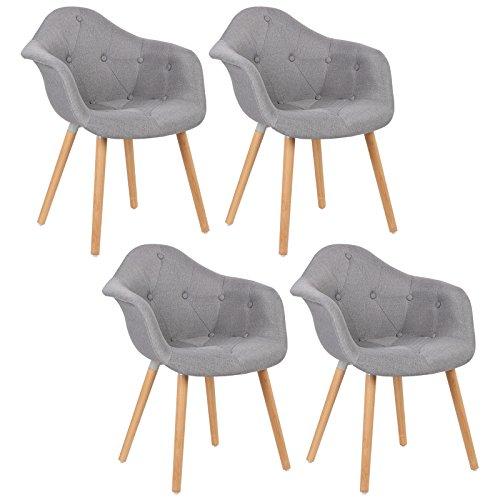 WOLTU® BH55-4 4 x Esszimmerstühle 4er Set Esszimmerstuhl mit Lehne Design Stuhl Küchenstuhl Leinen Holz