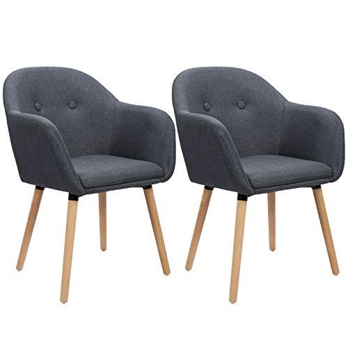 WOLTU Esszimmerstühle #1025 2er Set Küchenstuhl Wohnzimmerstuhl Polsterstuhl Design Stuhl mit Armlehne, Sitzfläche aus Leinen, Gestell aus Massivholz