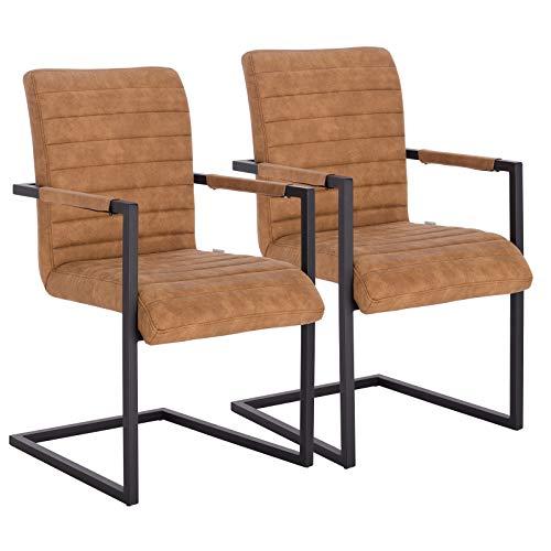 WOLTU® Schwingerstuhl #1205 2er Set Freischwinger Stuhl Esszimmerstühle Küchenstuhl Polsterstuhl Stoff Metallgestell