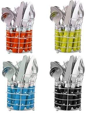 niboline 24-teiliges Besteckset Edelstahl mit Ständer-Besteckkorb Besteck für 6 Personen Menü-besteck Color-Besteck mit Kunststoffgriffen geliefert Wird in Geschenk-Dose