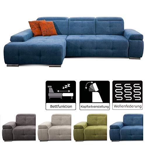 CAVADORE Schlafsofa Mistrel mit Longchair XL rechts / Große Eck-Couch im modernen Design / Mit BettfunktionWellenunterfederung