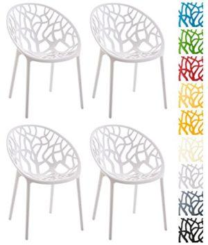CLP 4er-Set Design-Gartenstuhl Hope aus Kunststoff I 4X Wetterbeständiger Stapelstuhl mit Einer maximalen Belastbarkeit von 150 kg I In Verschiedenen Farben erhältlich