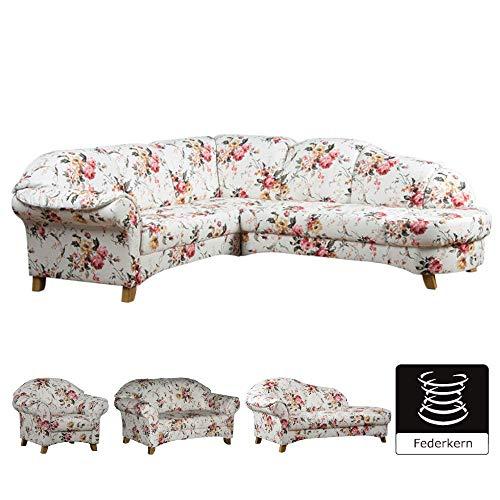 Cavadore Polsterecke Maifayr / Wunderschön geblümte Sitzecke im Landhausstil mit Holzfüßen / Landhaus Möbel / Armteil rechts