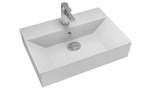 Design Waschbecken zur Wandmontage Waschtisch 50/60 / 70/90 cm Tiefe 42cm Aufsatz-Waschtisch Waschschale Möbelwaschtisch mit dünnem Rand Keramik weiß