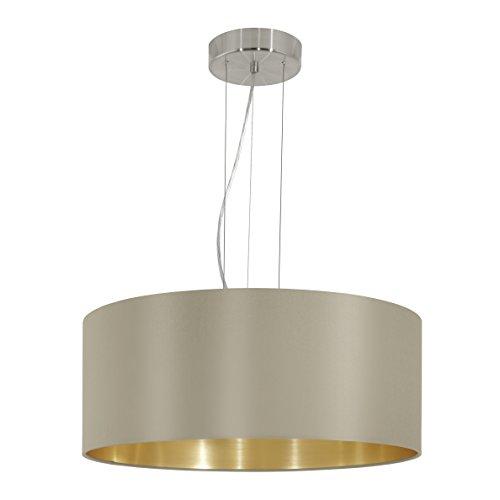 EGLO Hängeleuchte Stahl E27, Nickel-matt/Taupe/Gold 53 x 53 x 110 cm