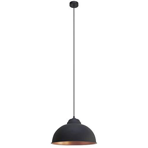 EGLO Hängeleuchte Truro Stahl Kupfer-Schwarz Durchmesser 37cm E27 Vintage 37 x 37 x 110 cm