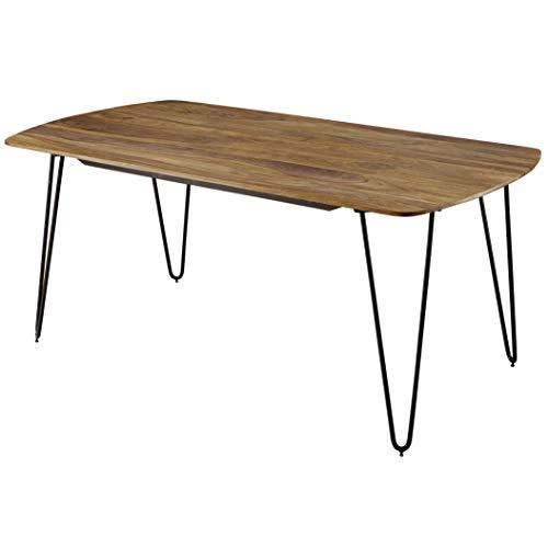 FineBuy Esszimmertisch KEYLA Sheesham Massivholz | Esstisch mit Metallbeinen | Massiver Echtholz Tisch Quadratisch | Designer Holztisch Massiv | Moderner Küchentisch Braun